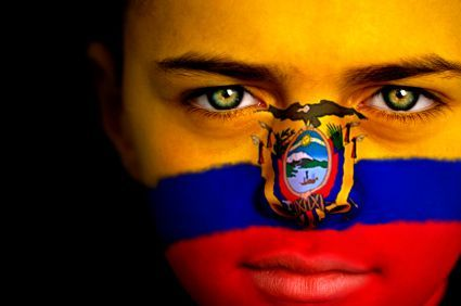 Ecuador Flag Painted on Face #Flag #Face #Paint #Ecuador