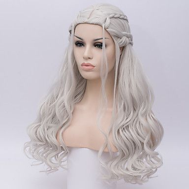 Women Synthetic Wig Game of Thrones Cosplay Wig Daenerys Targaryen Khalessi Long Curly Silver Halloween  Costume Wigs