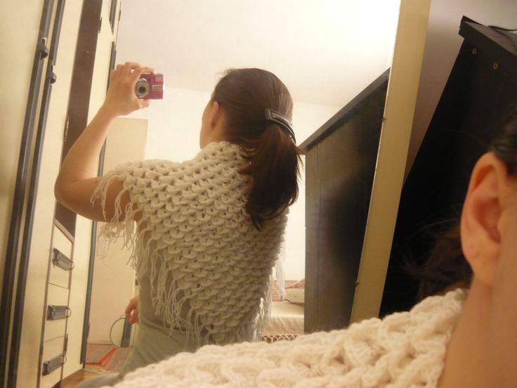 crochet hand made cotton wool stitch shawl