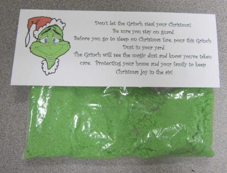 Grinch Dust - great alternative to Reindeer Food!   I am going to have to do this with my kiddos after reading the Grinch!