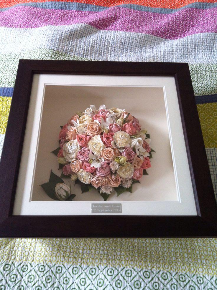 Wedding bouquet dried & framed
