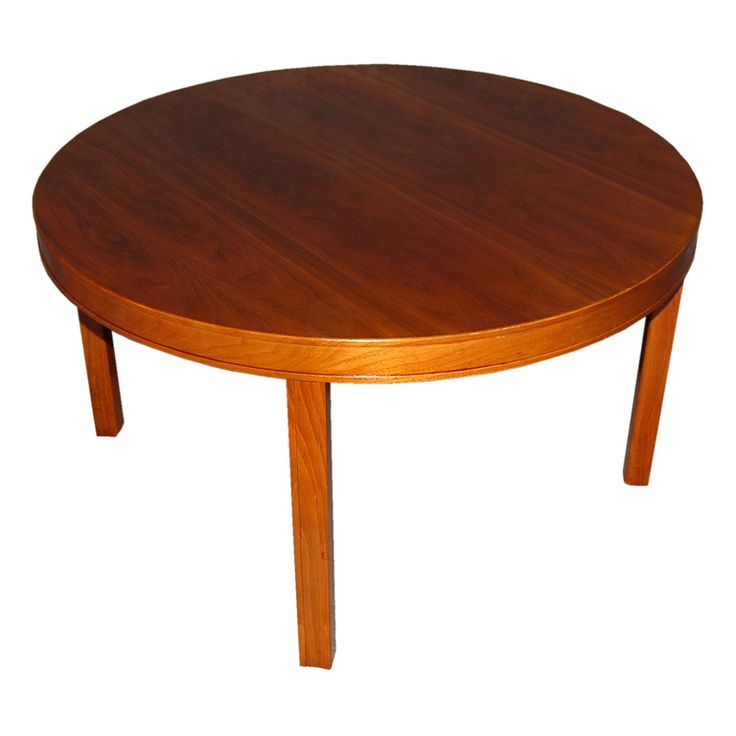 Swedish Modern Round Walnut End or Coffee Table by Carl Malmsten | From a unique collection of antique and modern end tables at https://www.1stdibs.com/furniture/tables/end-tables/