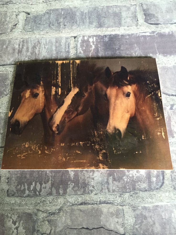 Distressed horse print on reclaimed plywood by ifitsticks on Etsy