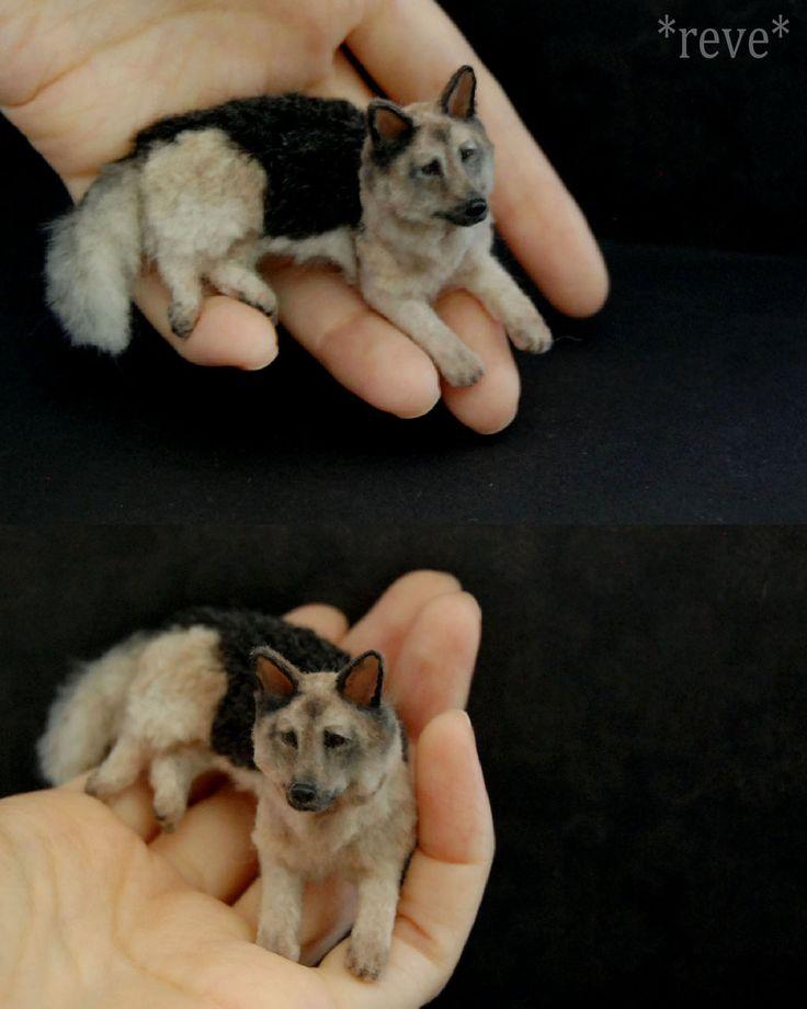 Miniature German Shepherd Dog * Handmade Sculpture by ReveMiniatures.deviantart.com on @deviantART