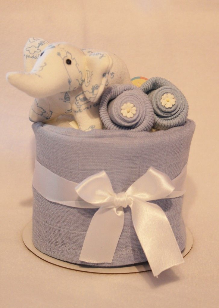 Mini Nappy Cake with Elephant Rattle Toy - Crafty Magpie