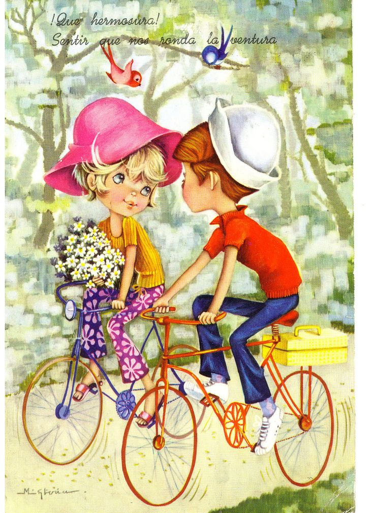 Vintage 70s postcard of a Big Eyed Boy and Girl | Flickr - Photo Sharing!