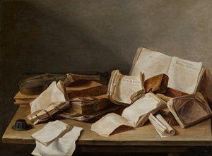 Jan Davidsz. de Heem, Stilleven met boeken en een viool, 1628.