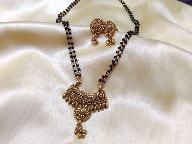 gold plated traditional kundal   mangalsutra with black beads double chain earr   eBay