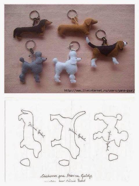 Felt Dogs - ARTE COM QUIANE - Paps,Moldes,E.V.A,Feltro,Costuras,Fofuchas 3D: 36 moldes de presente pra você aqui