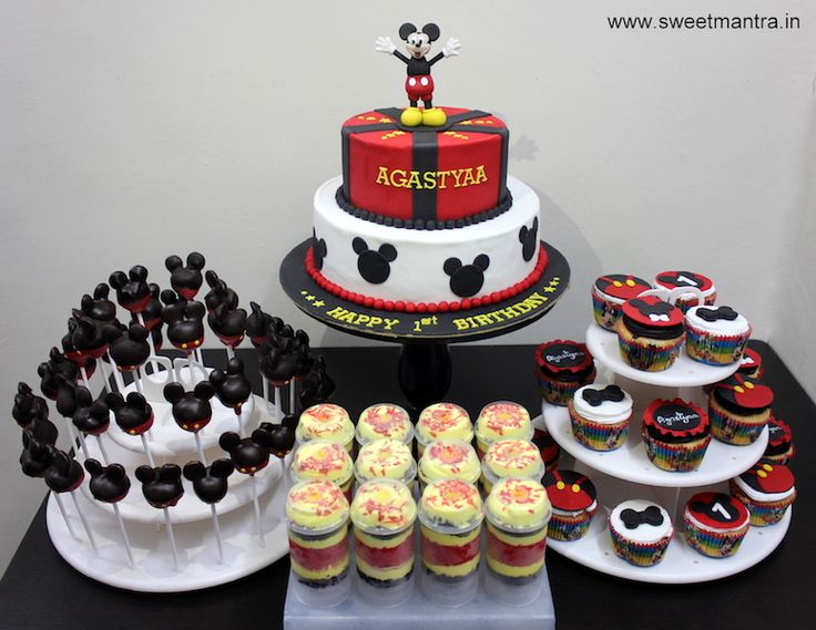 Mickey Mouse theme dessert/sugar table for boy's 1st birthday at Camp, Pune
