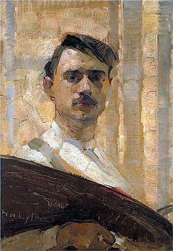 """'Self Portrait' by Nikolaos Lytras........The Nicholas or Nick Lytras ( Athens 1883 - 1927 ) was a distinguished Greek painter of the early 20th century. He studied painting at the School of Arts of Athens from 1902 to 1906, taught by his father Nikephoros Lytras and George Iakovidi . Continued his studies at the Munich Academy with his teacher Ludwig von Loftus . It is assumed that in Munich , the young Nicholas Lytras met German Expressionism and the works of the famous group """" Blue Rider…"""