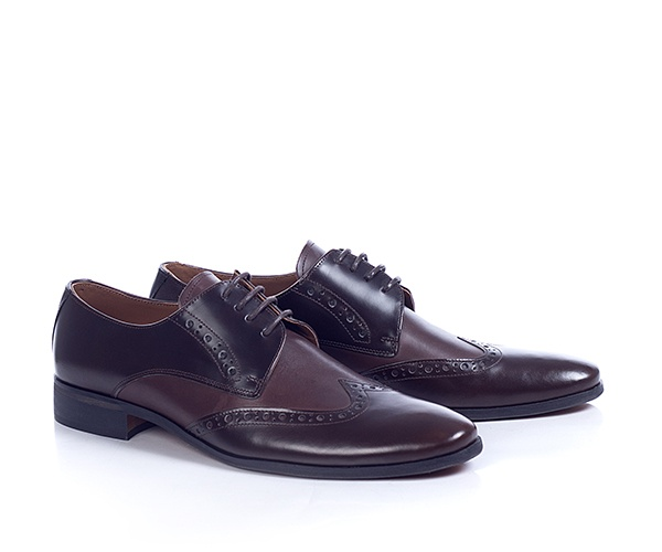 Pantofi din piele naturala de culoare maro, cu un model cu perforatii in stil brogue. Pielea este in doua nuante diferite, in fata si in spate fiind mai inchisi la culoare, iar in mijloc avand o nuanta mai deschisa.