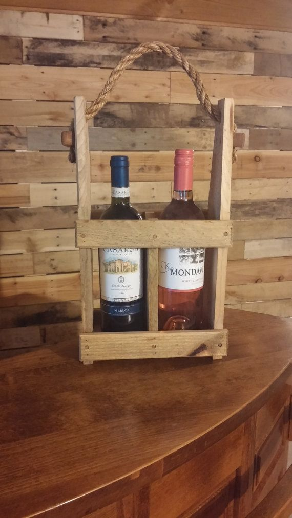 2-Bottle Wine Tote Wooden Wine Bottle by WinePalletConcepts