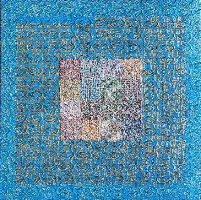 Available for sale from Kalman Maklary Fine Arts, Sam Havadtoy, Enimga Series - 18 (2011), Lace, acrylic, 151 × 151 cm