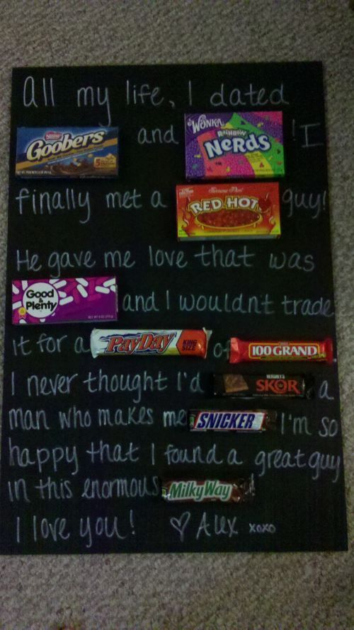 two of my favorite things, men and candy :) doing this someday!