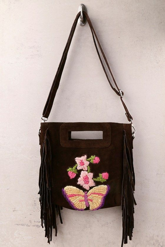 California Dreamin' Brown Suede Leather Embroidered Purse 3