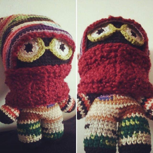 """Is it winter yet?"" asked The Black Soldier.  #crochet #crocheting #crochetofinstagram #crochetoftheday #amigurumi #colorfull #monster #beanie #beanieman #bighead #doll #crocheting #handmade #handcrafted #winter"