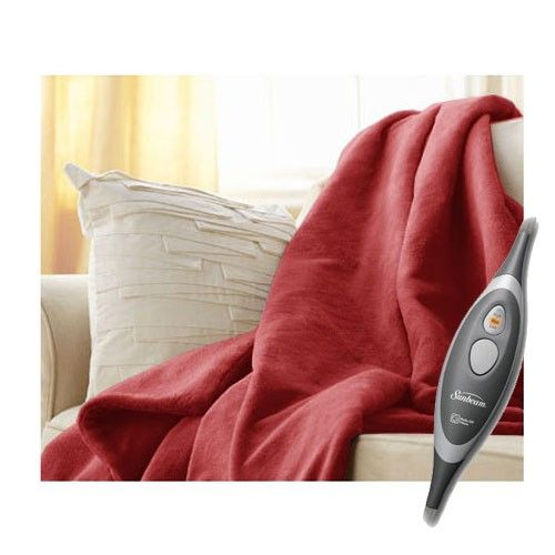 Sunbeam Microplush Electric Heated Throw Blanket Garnet Red