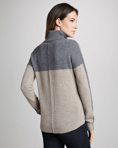 360sweater | Gray Cassandra Twotone Cashmere Sweater | Lyst