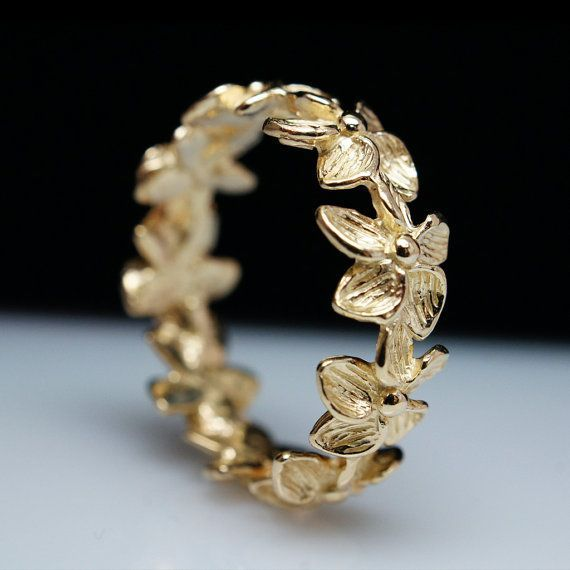 Delicate & Beautiful 14k Yellow Gold Flower Ring Band - ...