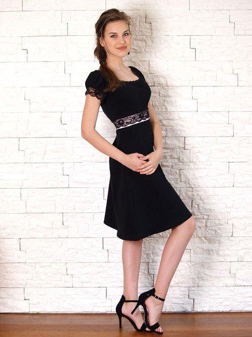 Elegantní šaty s krajkou- černé/růžová