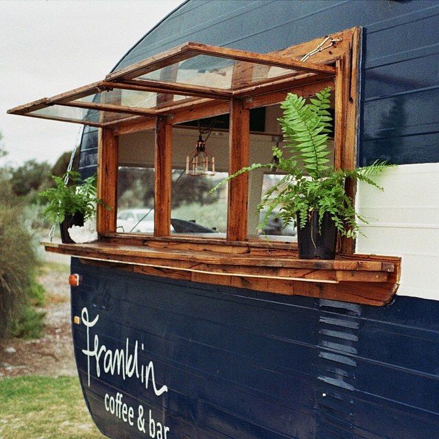 I'm researching design ideas for Grace's serving window.  Inspired by @franklincoffee's use of timber frames & shelf. Gorgeous vintage caravan restoration.  Thanks to @theslowcamp  #slowcampwelcomespring15  _