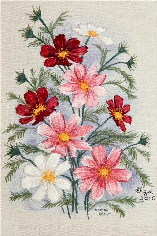 Cosmos flowers in long and short stitch.  Embroidery by Elza DeJager.