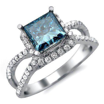 1.88ct Blue Princess Cut Diamond Engagement Ring 18k White Gold