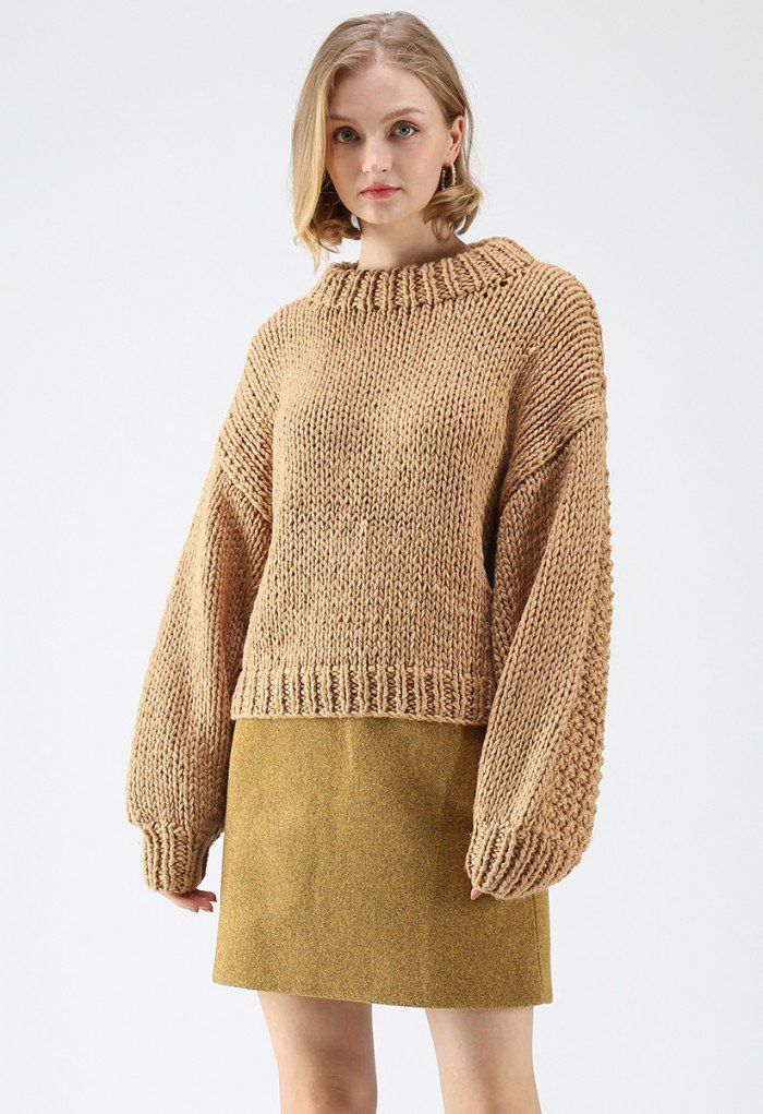 11bba409904794 Chunky Chunky Puff Sleeves Cropped Sweater in Caramel - Retro, Indie and  Unique Fashion