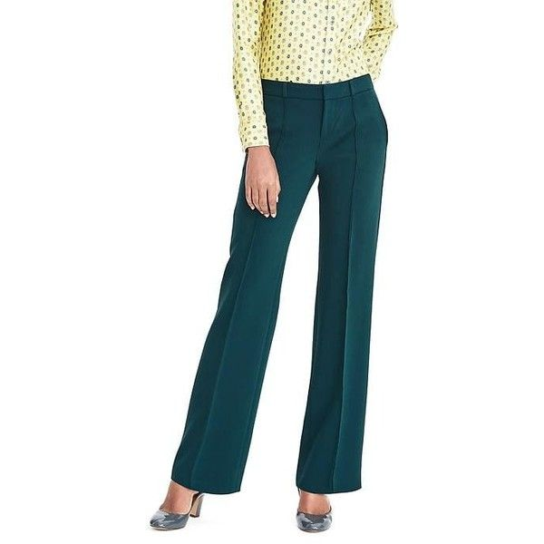 Banana Republic Womens Wide Leg Bi Stretch Pant (125 AUD) ❤ liked on Polyvore featuring pants, loch green, banana republic, green pants, green wide leg trousers, zipper pants and wide leg pants