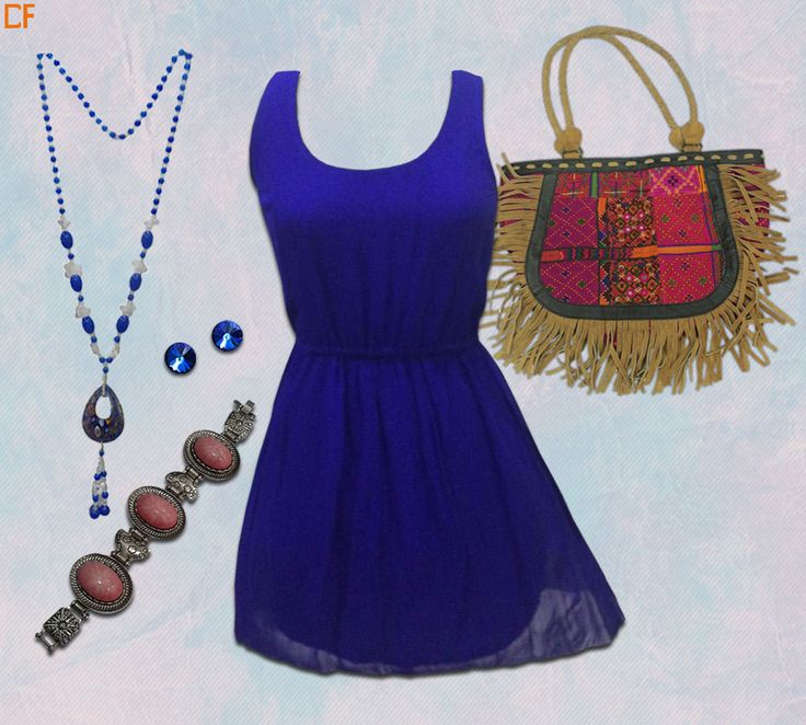 #new #short #dress #necklace #boho #handbag #bracelates #blue #earings A complete #sizzling look for collage fest only at #droomfashion #onlinestore #onlineshopping Visit us at http://buff.ly/1FcJuzD