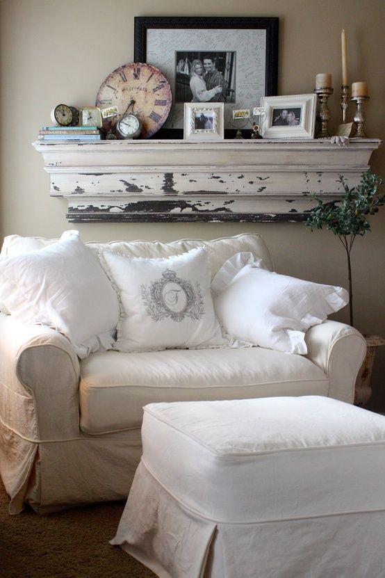 Shabby chic - Chippy shelf - White Slipcovers - Monogram pillow.