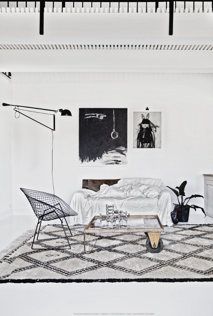 Modern Swedish room with #industrial style home decor and edgy art. #HannahLemholt