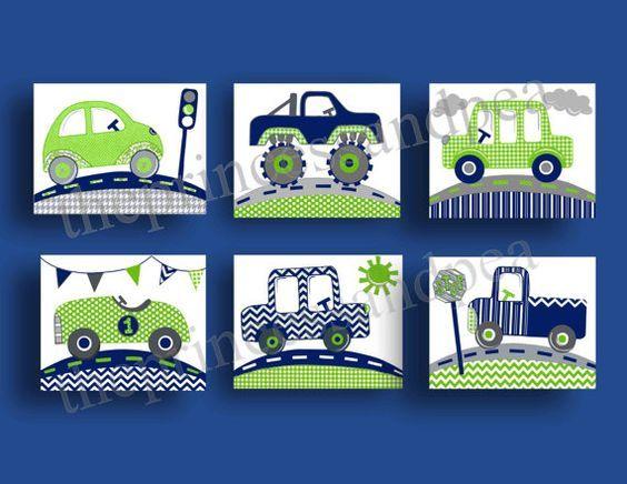 navy blue green baby boy cars trucks transportation chevron modern kids children nursery art blue green decor  by theprincessandpea