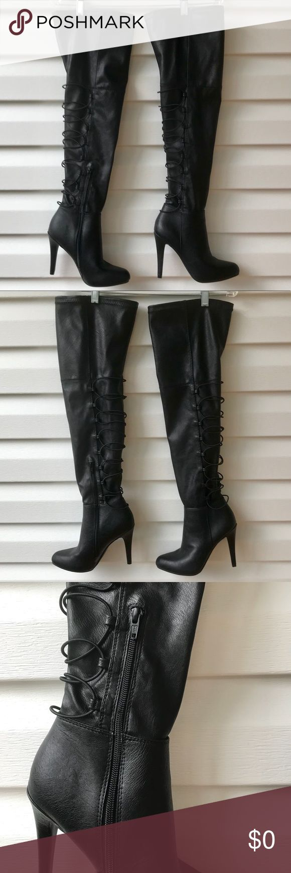"""🆕 Over the Knee Boots Lace up detail in the back of the boots, side zipper by the ankles. Only tired but never worn. Will measure heel and height of boots shortly. Model in the picture is 5'3"""". Jennifer Lopez Shoes Heeled Boots"""