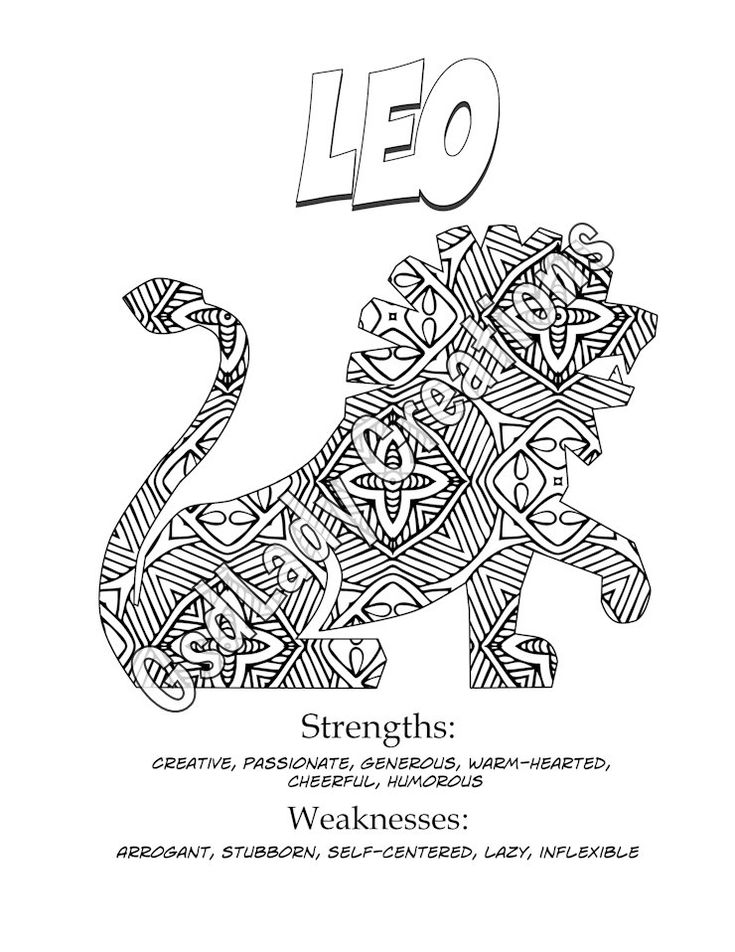 zodiac art print leo astrology print coloring page novelty gift horoscope