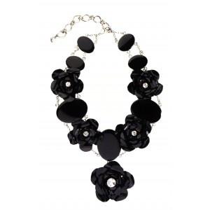 Collar corto negro de flores www.sanci.es