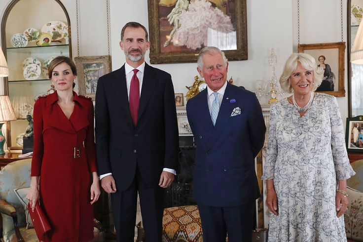 Spanish King Felipe VI and Queen Letizia meet with with Britain's Prince Charles, Prince of Wales and Britain's Camilla, Duchess of Cornwall at Clarence House in central London on July 12, 2017, on the first day of the Spanish King's three day state visit. Spanish King Felipe VI and Queen Letizia began a state visit to Britain on Wednesday, as the two countries attempt to strengthen ties despite tensions over Britain's plans to leave the European Union.
