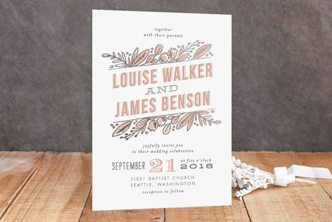 """""""Floral Stack"""" - Floral & Botanical Foil-pressed Wedding Invitations in Periwinkle by Alethea and Ruth."""