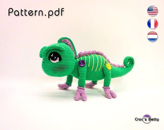 Pattern - Jarod the Chameleon    #crochet #pattern #amigurumi #tutorial #tutoriel #patron #cameleon #chameleon