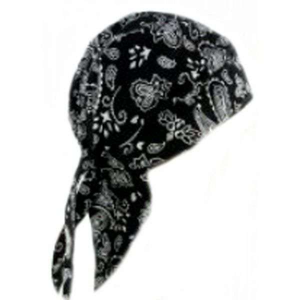 Black Paisley Headwrap Doo Rag with SWEAT BAND Durag Skull Cap Spandex... ❤ liked on Polyvore featuring accessories, hats, cap hats, band hats, skull cap, skull hat and spandex cap