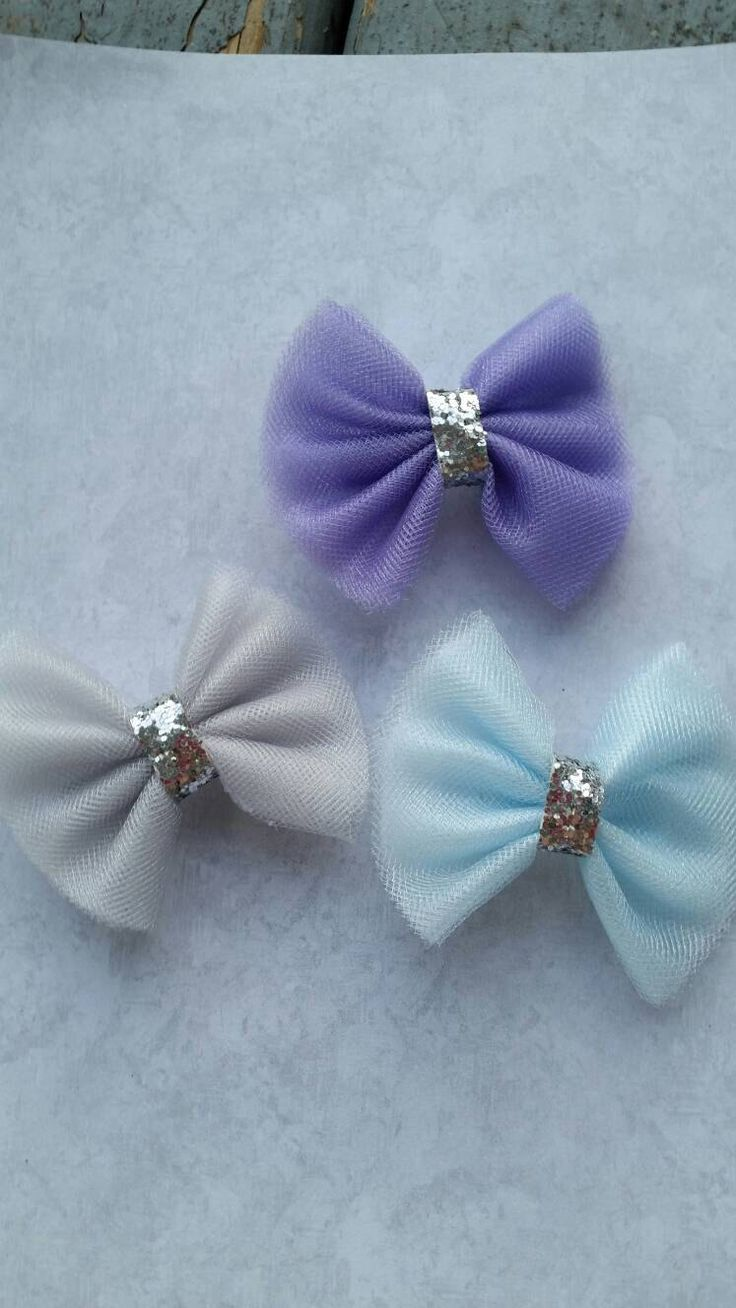 mini tulle hair bow set, tulle hair clips, purple tulle, gray tulle, blue tulle, gift set,  girls hair bows tulle and silver glitter bows by ticklefancylane on Etsy https://www.etsy.com/listing/269182491/mini-tulle-hair-bow-set-tulle-hair-clips