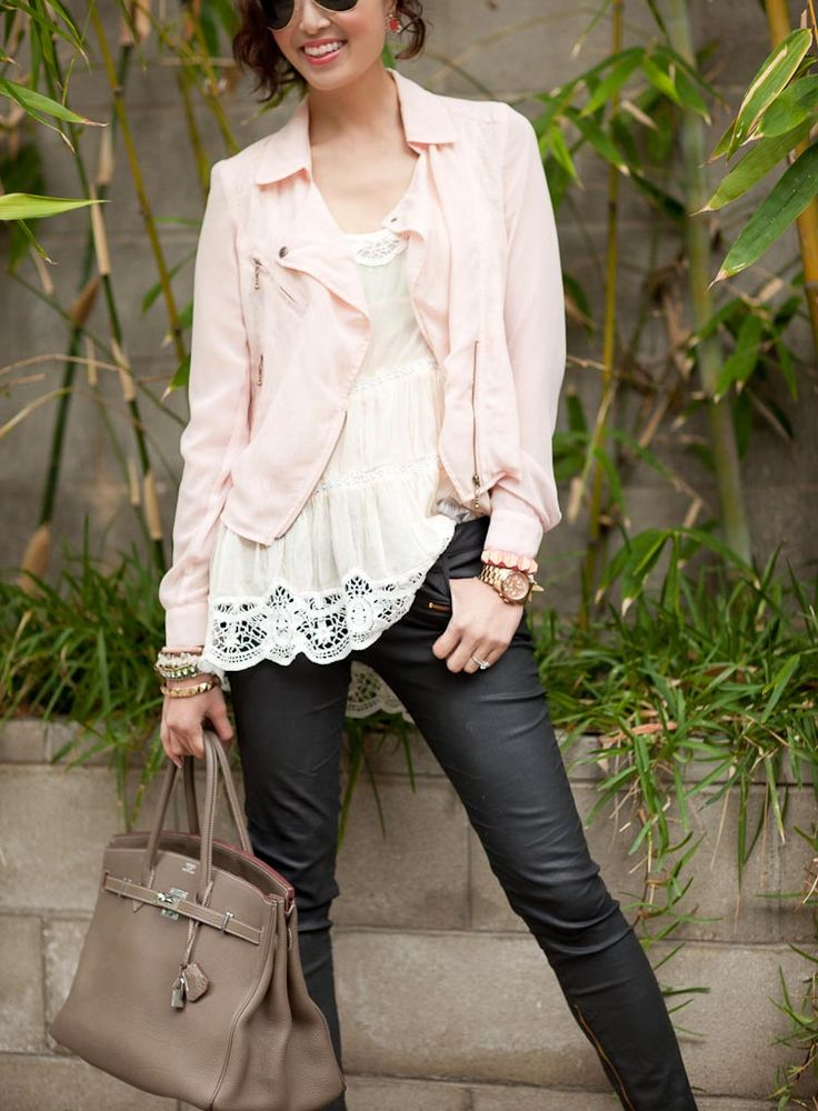 love the black leggings with the pink: Lace Tops, Fashion My Style, Style Inspiration, Clothes Street, Clothing, Lim Outfits, Spring Outfits, Affordable Clothes, Women Lace Jackets