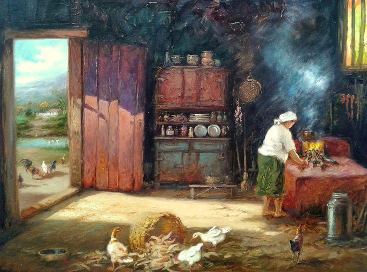 AKHMED KHITAEV -  Formandas   Óleo sobre tela - 1952       RUI DE PAULA - Cozinha caipira   Óleo sobre tela