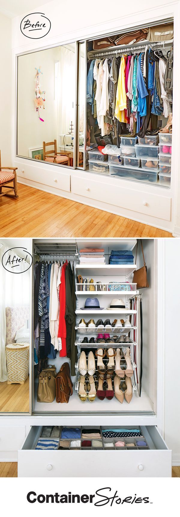 It was elfa to the rescue when Farrah and her daughter downsized from a three-bedroom house to a one-bedroom apartment. Gliding Shoe Racks organized all her shoes, while Decor Shelving and Shelf Baskets organized and displayed key accessories. And of course, we were able to double her hanging space! Drawer organizers turned the two jumbled drawers into effective storage space.