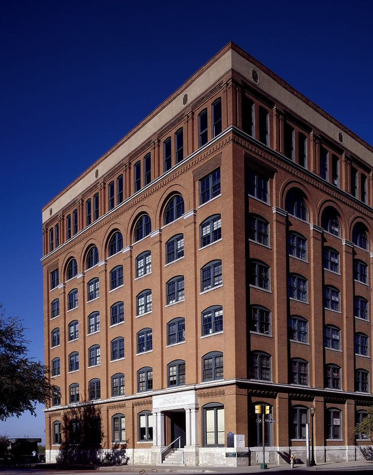 View of the Texas School Book Depository in Dallas, Texas, from which, according to the Warren Commission, Lee Harvey Oswald killed President John F. Kennedy.