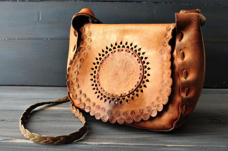 Hand Tooled Leather Bag, Leathet Shoulder Bag, Boho Hippie Bag, Small Leather Bag by ColoursAndSoul on Etsy