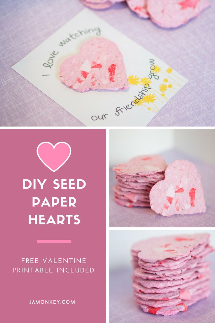 Make these beautiful seed paper hearts from recycled paper. Give them as Valenti…