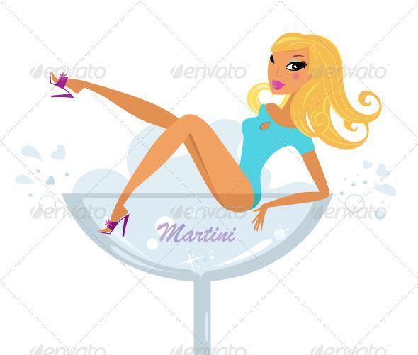 Beautiful vector retro girl in martini glass