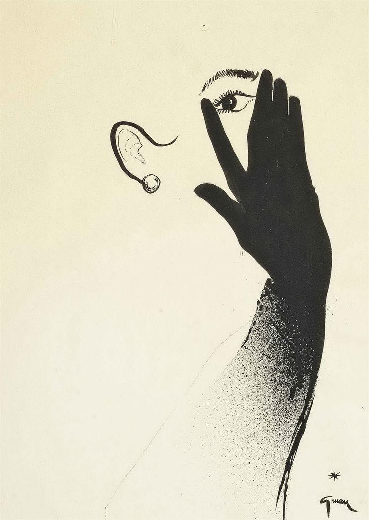 Черная перчатка. ок.1950. 53,5 х 38 см. бумага, гуашь. Rene Gruau (1909-2004)